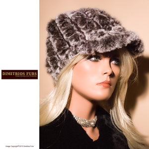 Women's Fur Hats - Knitted Rabbit Fur Cap with Visor