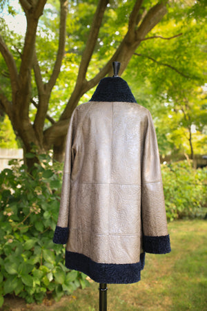 Stenciled Astrakhan Lamb Jacket - Reversible