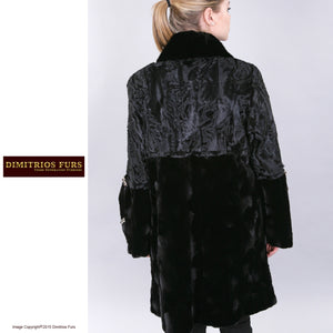 Custom Fur - Swakara Black Coat with Sheared Mink and Oval Mink Top Collar