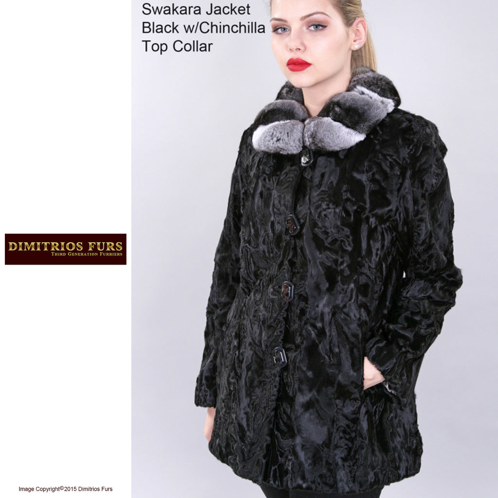 Custom Fur - Swakara Jacket with Chinchilla Top Collar