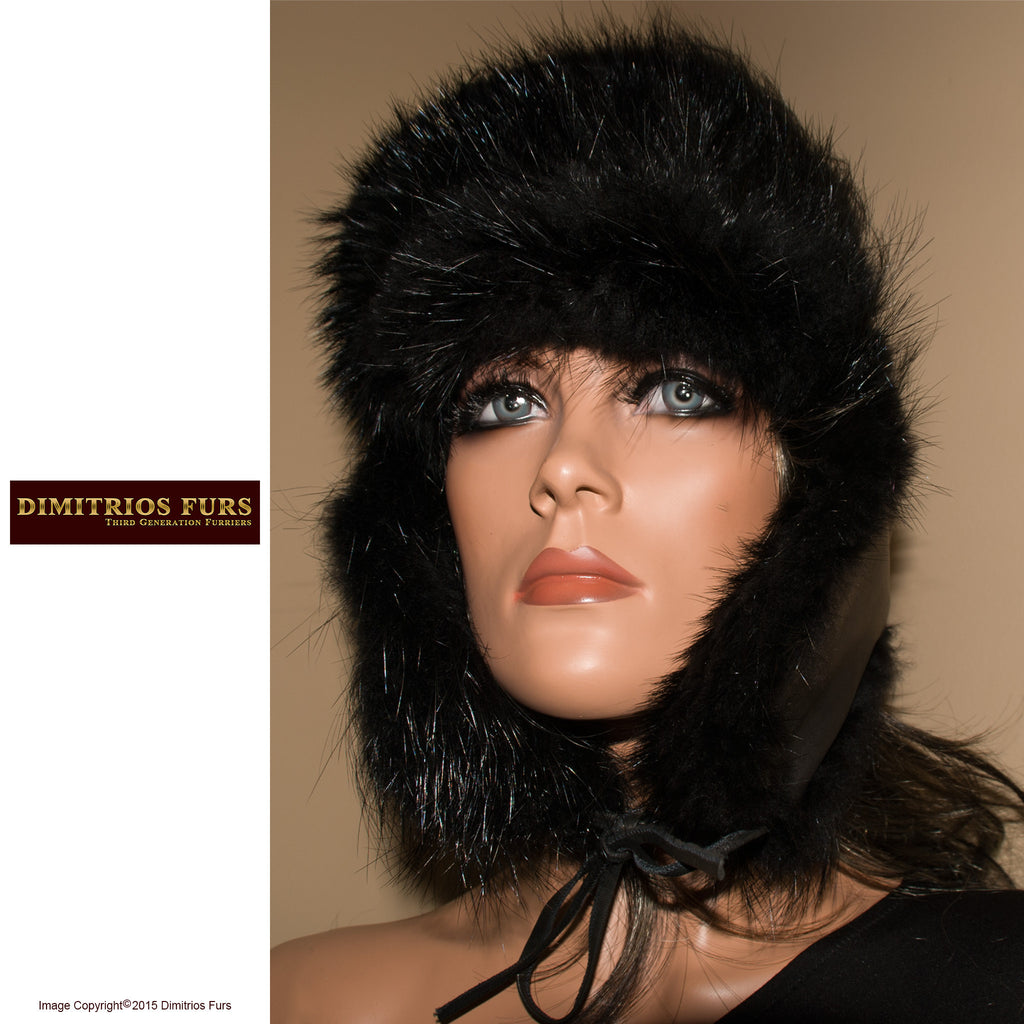 Unisex Fur Hats - Black Leather Trooper Hat Trimmed with Beaver