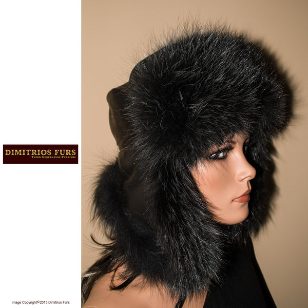 Women's Fur Hat - Black Trooper hat Trimmed with Black Fox Fur