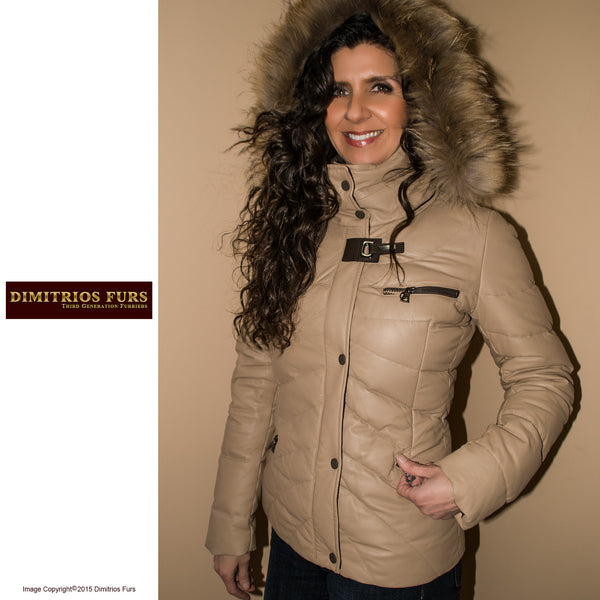 Tan Quilted Leather Jacket with Removable Fox Trimmed Hood