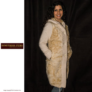 Tan Knitted Mink Sweater Coat with Hood