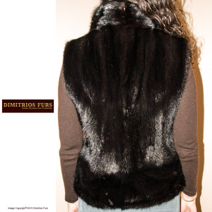 Mink Vest Waist Length Stand Up Collar