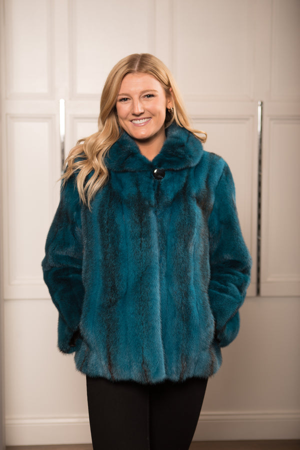 Dy Blue Mink Cross Wing Collar