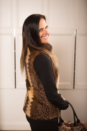 Mink & Persian Combination Vest with Zipper