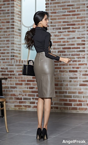 Leather Skirt - Gray