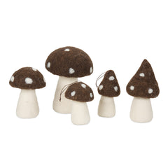 felted mushrooms set of 5