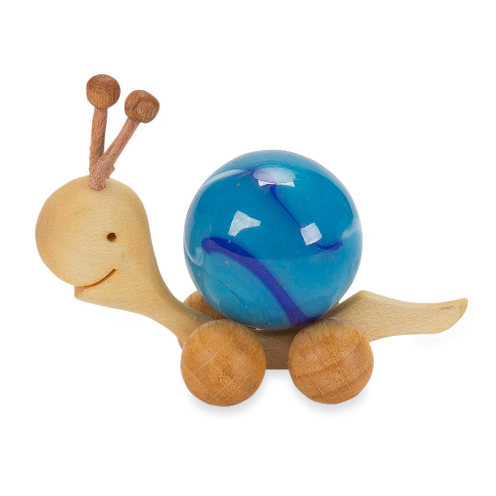 marble-shell snail - blue - nova natural toys & crafts