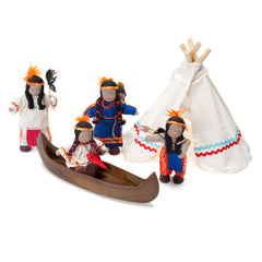 native american family set with canoe and teepee