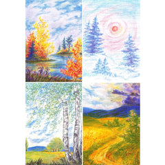 four seasons postcard set