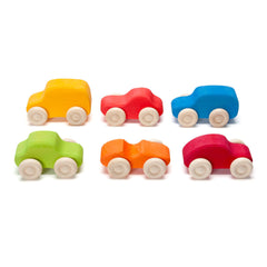 colorful wooden cars set
