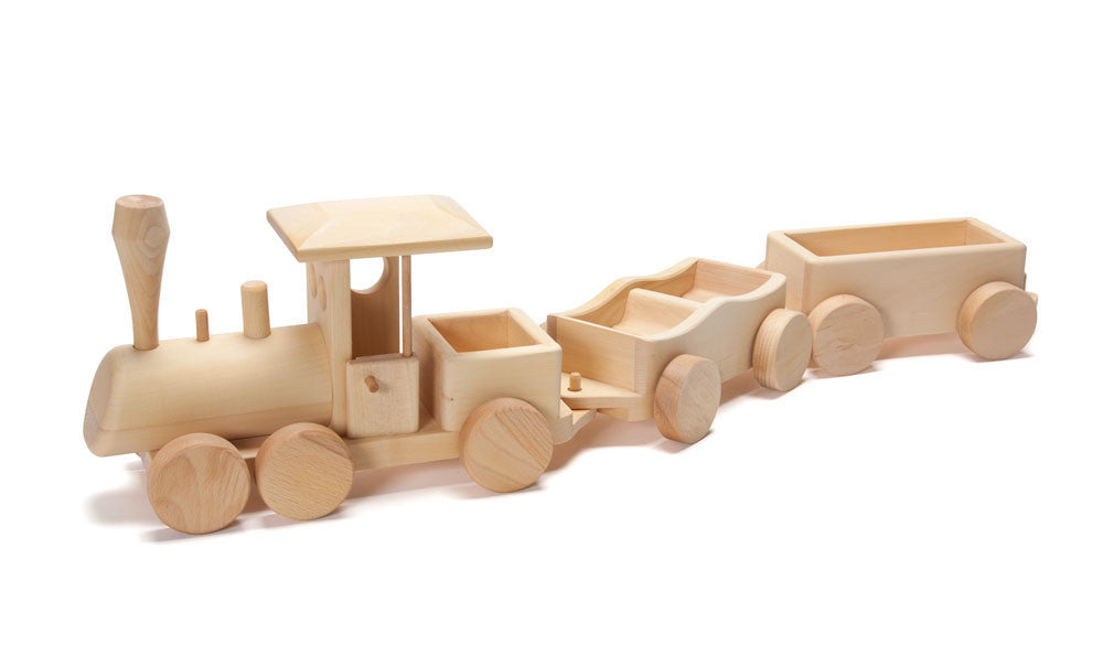 Wooden Toy Trains : Wooden train engine car set in toy vehicles nova