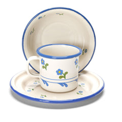 flowered enamel cup, bowl + plate set