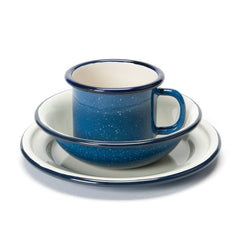 enamel cup, bowl & plate set