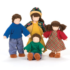dressable dollhouse family - brown hair