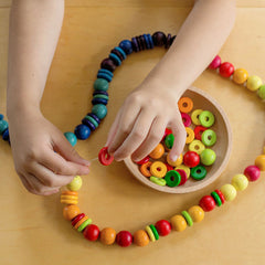 colorful round wooden beads