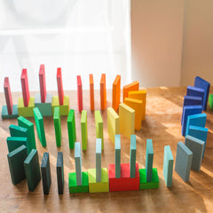 rainbow racing dominoes