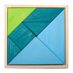 blue/green tangram puzzle set