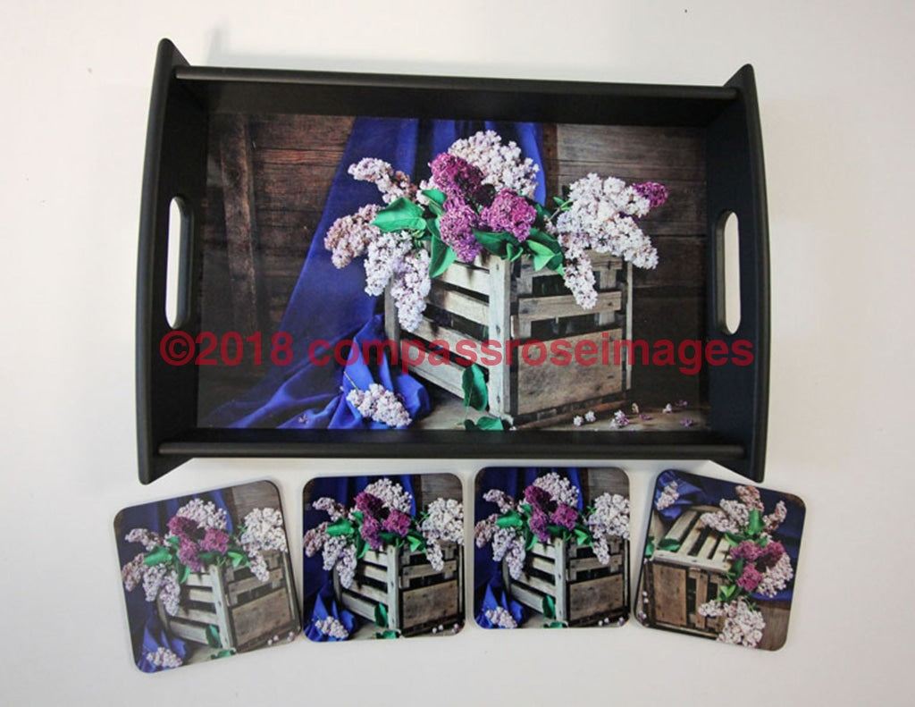 Lilac Tray and Coasters 5