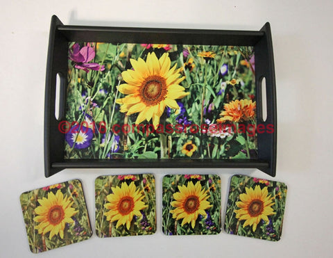Sunflower Tray and Coasters 7
