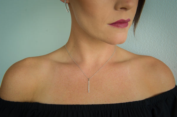 N028084 - Cubic Zirconia and Sterling Silver Vertical Bar Necklace