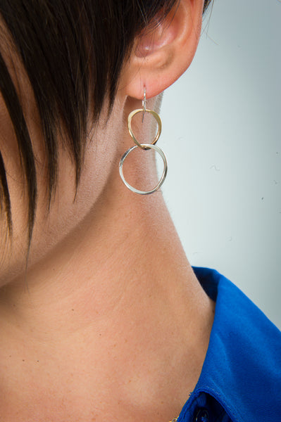 E064038 - Sterling Silver and Gold-Filled Open Twisted Circles French Wire Earrings