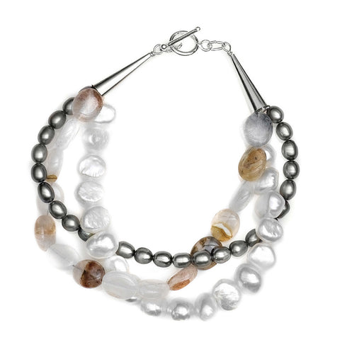 B005079* - Gray and White Pearl, Quartz and Sterling Silver Bracelet