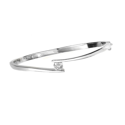 B005085* - Cubic Zirconia and Hinged Sterling Silver Bangle