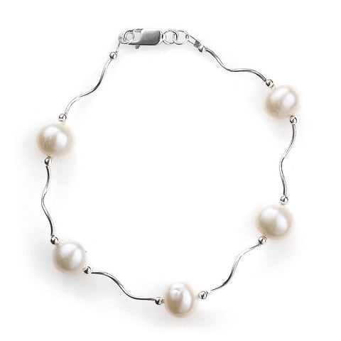 B005089 - Wavy Sterling Silver and White Pearl Bracelet