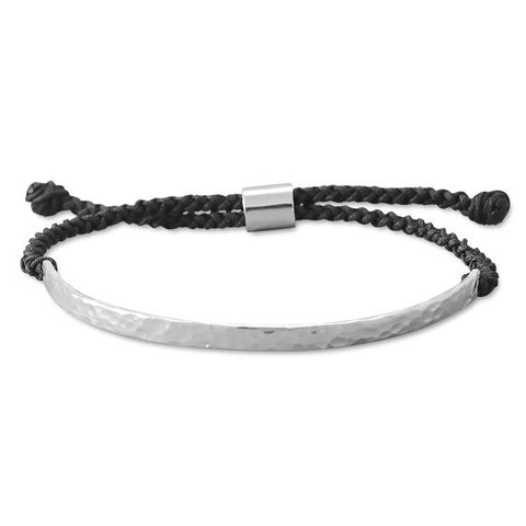 B005121 - Hammered Sterling Silver Bar with Black Macrame Adjustable Bracelet