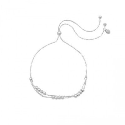 B005127 - Sterling Silver Adjustable Bracelet with Silver Accent Beads