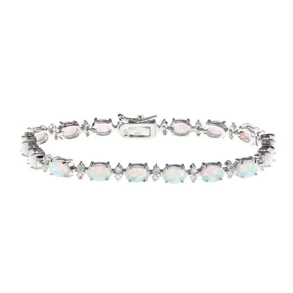 B028014* - White Opal and Cubic Zirconia Bracelet