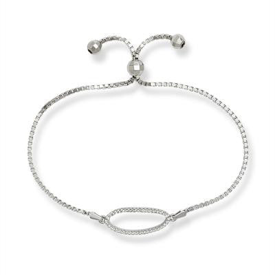 B028024 - Sterling Silver and Open Oval Cubic Zirconia Adjustable Bracelet