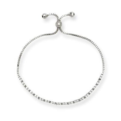 B028025* - Sterling Silver and Cubic Zirconia Adjustable Bracelet