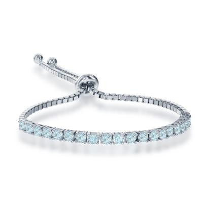 B028027 - Sterling Silver and Blue Topaz Adjustable Bracelet