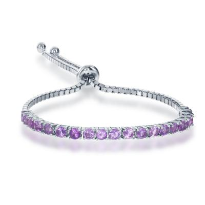 B028029* - Sterling Silver and Amethyst Bolo Bracelet