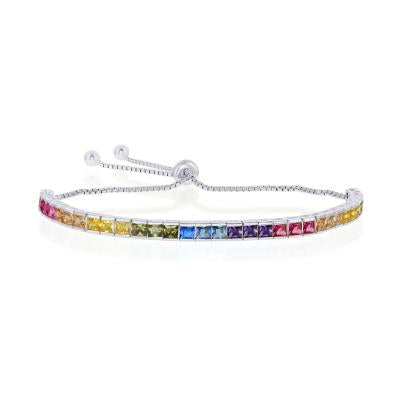 B028032* - Sterling Silver and Rainbow CZ Channel Set Adjustable Bracelet