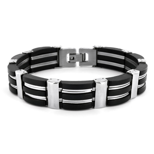 B047003 - Men's Stainless Steel and Black Rubber Bracelet