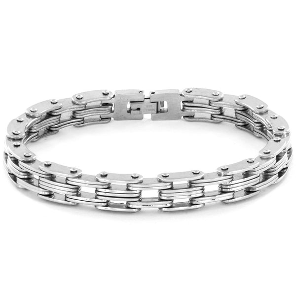 B047009 - Men's Stainless Steel Bicycle Style Chain Link Bracelet