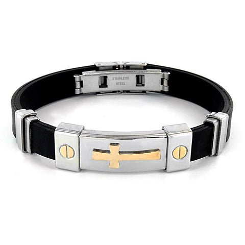 B047013 - Men's Stainless Steel and Rubber Link Bracelet