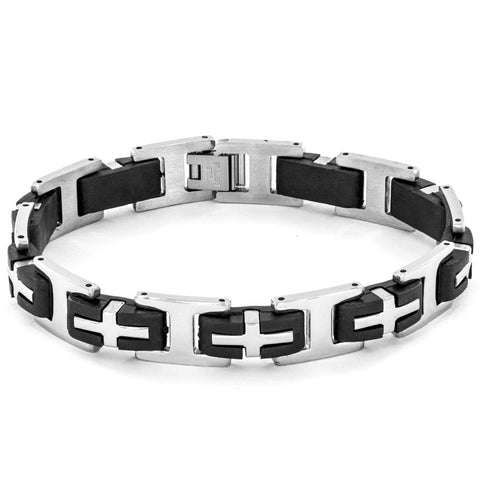 B047016 - Men's Stainless Steel and Rubber Cross Link Bracelet