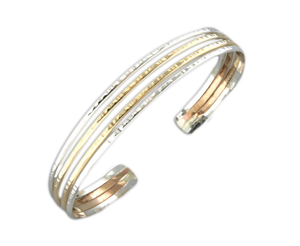 B064008 - Textured Sterling Silver and Gold-Filled Wire Cuff Bracelet