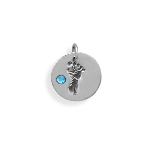C005024 - Sterling Silver and Blue Crystal Baby Boy Footprint Charm