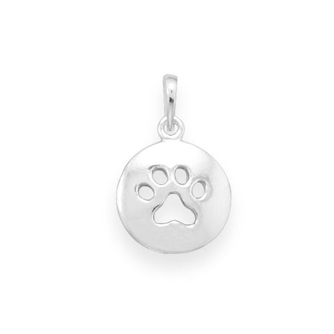 C005026 - Polished Sterling Silver with Cut Out Paw Print Charm
