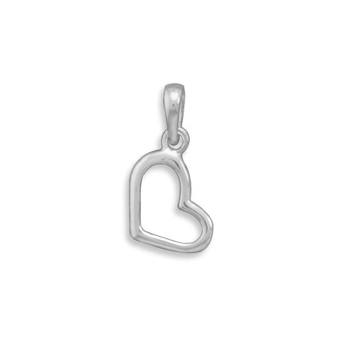C005027* - Polished Sterling Silver Open Heart Charm