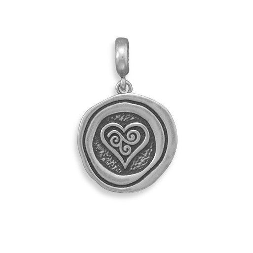 C005032* - Oxidized Sterling Silver Heart Design Charm