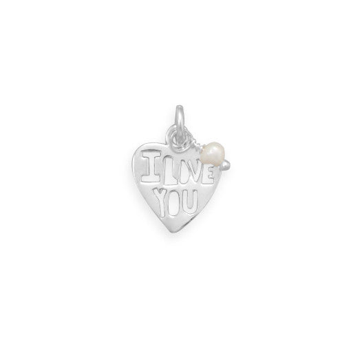 C005034* - Polished Sterling Silver 'I LOVE YOU' Heart Charm with Pearl