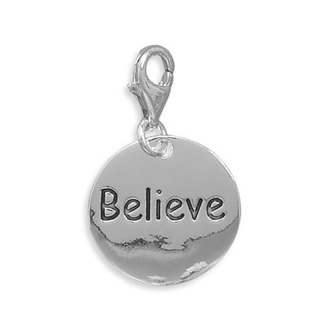 C005040* - Sterling Silver 'Believe' Charm